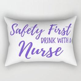Saftey First Drink with a Nurse - Purple Rectangular Pillow
