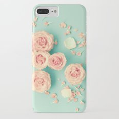 Composition of roses over mint iPhone 7 Plus Slim Case
