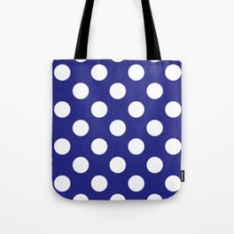 Geometric Candy Dot Circles - White on Navy Blue Tote Bag
