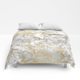 Modern chic faux gold white elegant marble Comforters
