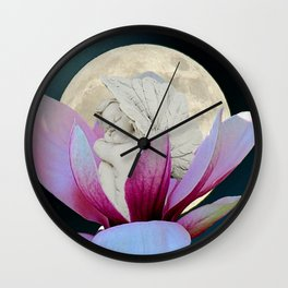 Angel Cherub Sleeping in Magnolia Flower Photo Art A360 Wall Clock
