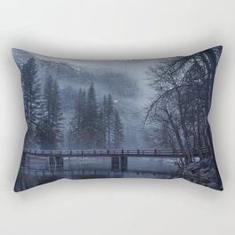Swinging Bridge over Merced River in Yosemite National Park in the blue of the Early morning Rectangular Pillow