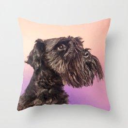 Miniature Schnauzer Portrait Gentle Pastel Throw Pillow