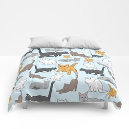 Orange, Gray, Brown, and White Cats Comforters