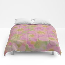 Pink Floral, The Earth Laughs In Flowers Comforters