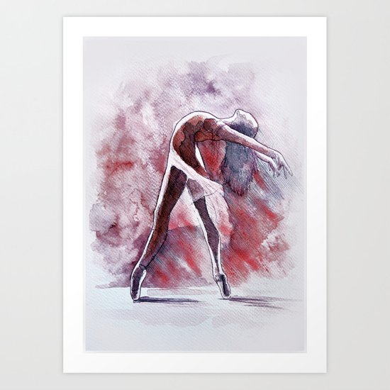 Ballet study in pink, watercolor and pastel artwork Art Print
