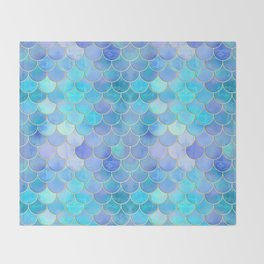 Aqua Pearlescent & Gold Mermaid Scale Pattern Throw Blanket