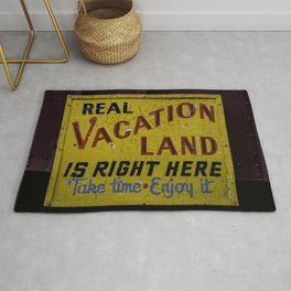 Weathered and Cracking Real Vacation Land Sign Rug