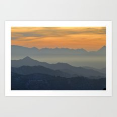 Sunset at the mountains Art Print