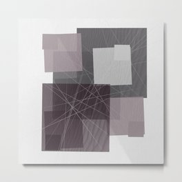 Gray and Pink Square Metal Print