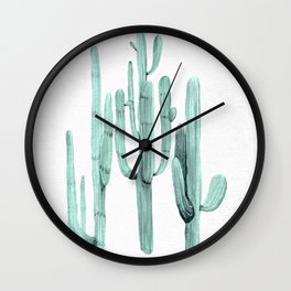 Turquoise Cactus Watercolor Painting Wall Clock