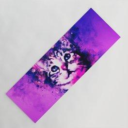pianca baby cat kitten splatter watercolor purple pink Yoga Mat