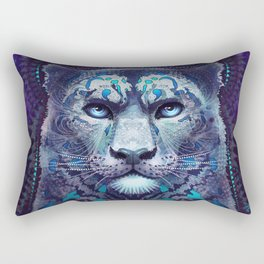 Snow Leopard Late Night Rectangular Pillow
