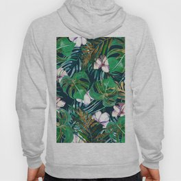 Tropical forest green lilac gold monster leaves floral Hoody