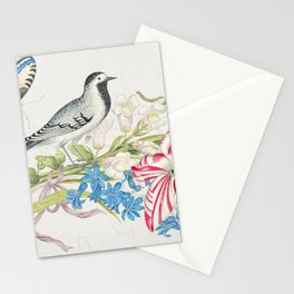 The 18th century  of a gray bird on a branch with tulip snapdragons and forget-me-nots with butterfl Stationery Cards
