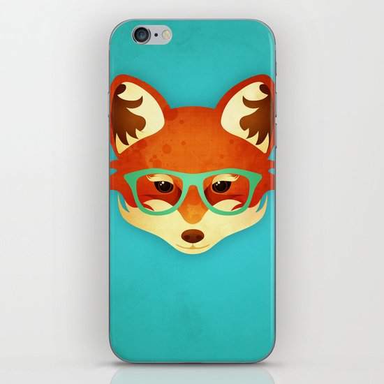 Hipster Fox: Azure iPhone & iPod Skin