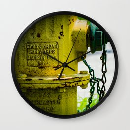 Yellow and Green Watermaster Fire Hydrant East Jordan Iron Works Fireplug Wall Clock