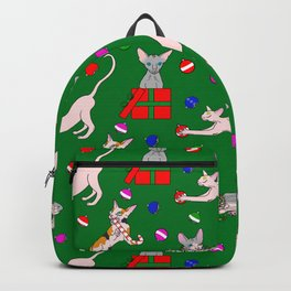 christmas sphynx (naked cat) ugly sweater Backpack