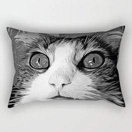 norwegian forest cat omg vector art black white Rectangular Pillow