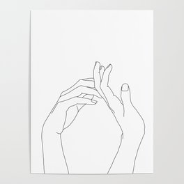 Hands line drawing illustration - Abi Poster