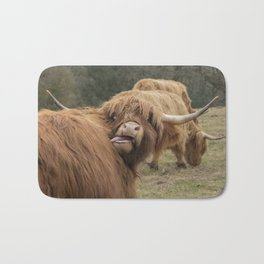 Funny Scottish Highland cow Bath Mat