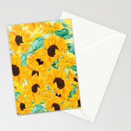 watercolor sunflower pattern 2019 Stationery Cards