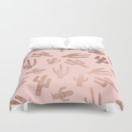 Modern rose gold cactus pattern on blush pink Duvet Cover