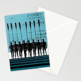 Rowing Crew in Black & Blue Stationery Cards