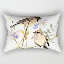 Sparrows and Spring Blossom Rectangular Pillow