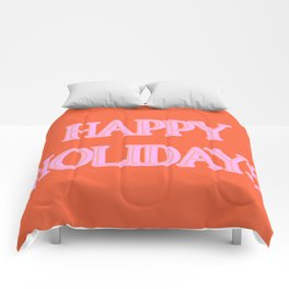 Happy Holidays Typography in Pink and Orange Comforters
