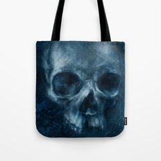 Blue Skull Waves Tote Bag