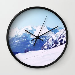 Snow in the Mountains Wall Clock