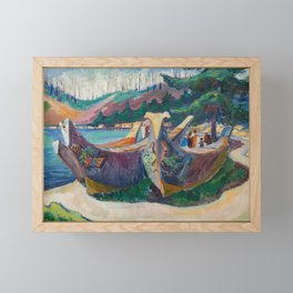 War Canoes by Emily Carr Framed Mini Art Print