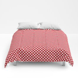 Flame Scarlet and White Polka Dots Comforters