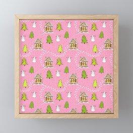 Alpine Ski lodge on Pink Framed Mini Art Print