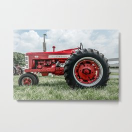 Vintage IH Farmall 450 Side View Red Tractor Metal Print