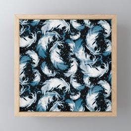 Feather Fest — Blue • Black Framed Mini Art Print
