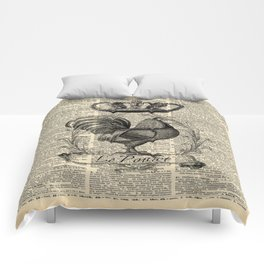 western country french chicken kitchen art farmhouse rooster Comforters