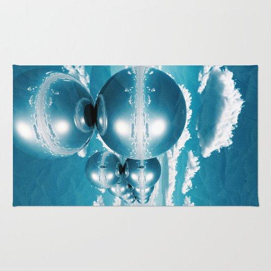 blue spheres in line paper Rug