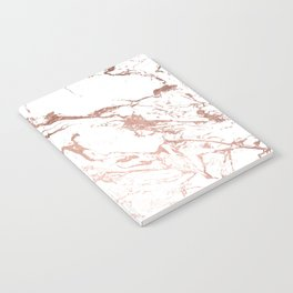 Modern chic faux rose gold white marble pattern Notebook