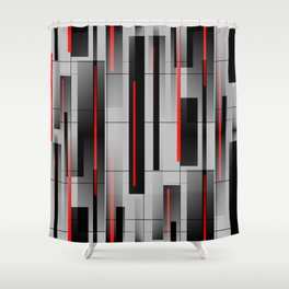 Off the Grid - Abstract - Gray, Black, Red Shower Curtain