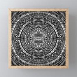 Zentangle Mandala Black and White Framed Mini Art Print