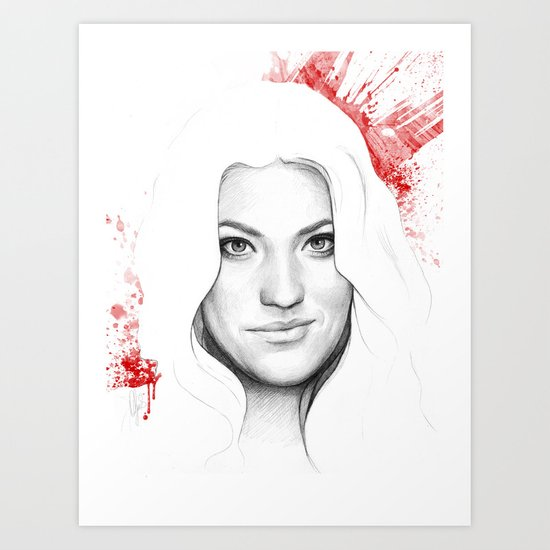 Debra and Blood Splatters Art Print