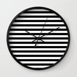 Black White Stripes Minimalist Wall Clock