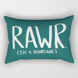 Rawr. I'm a Dinosaur. Turquoise. Rectangular Pillow