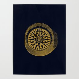The golden compass I- maritime print with gold ornament Poster