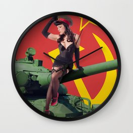 """Sovietsky by Land"" - The Playful Pinup - Russian Tank Pin-up Girl by Maxwell H. Johnson Wall Clock"