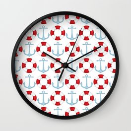 Anchors And Buoys Pattern Wall Clock