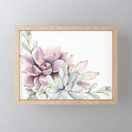 Desert Succulents on White Framed Mini Art Print