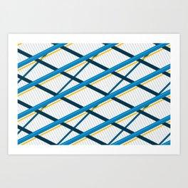 Deco Stripes Blue Art Print